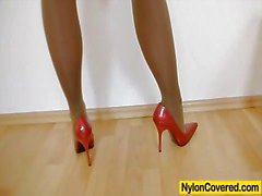 slender blondhaired full in nylons