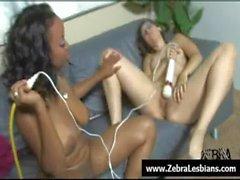 Zebra Lesbians - Sexy lesbian ebony fuck with strapon 25