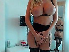 Hot blonde big tits close up masturbate
