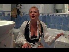 German school girl peeing and smoking fetish