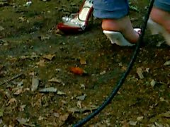 Bullwhip Cracking by my Wooden High Heel Lady in Wood 2