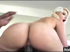 Blonde babe gets a big black cock
