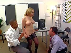 Aiden Starr dominates over husband in front of her lover