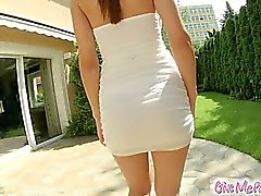 Anne gets caught masturbating outside in the garden. She exposes her perky tits and pink pussies and goes on give herself a massive orgasm using an oversized dildo