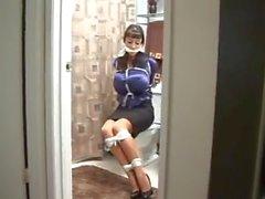 Secretary in bathroom