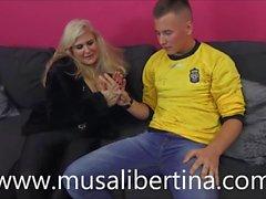 Porn casting with Musa Libertina: MILF fucks with young boy