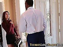 Teen jizzed by black cock