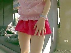 Teen Tina Blade pulls off her pink panties