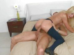 Luscious Carmen Monet rides her pussy on a hard prick