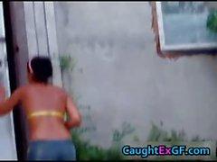 Gf enjoying outdoors stripping her thong