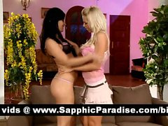Stunning brunette and blonde lesbians licking and kissing pussy and having lesbians sex