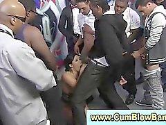 Interracial asian blowjob in gang bang