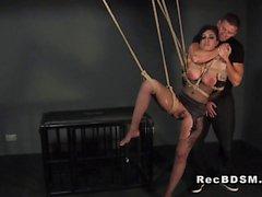 Tied up busty sub banged