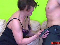Brunette mature hardcore and cum in mouth