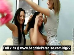 Superb brunette lesbos kissing in a great three way lesbo orgy