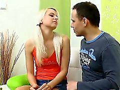 Young babe getting her slit fucked by two lusty studs