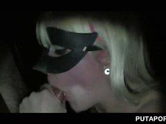 Gloryhole slut pussy nailed while she gives BJ