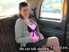 Brunette licks arse to fake taxi driver