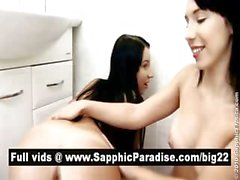 Aliz and Miri brunette lesbos toying pussy with a big vibrator