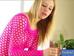 Sultry blonde masseuse blowjobs under the massage table