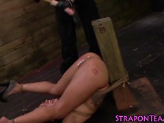 Restrained sub slave gags