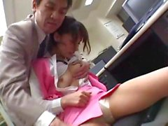 Yuka Osawa gets felt up by her boss and then gives him head