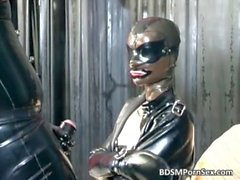 Filthy and kinky latex bitch blowing