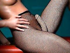 Luxury babe teasing in pantyhose