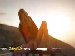 fairhair babe Francesca during sunset