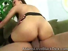 Lovely Asian babe destroyed with a huge piece of black meat