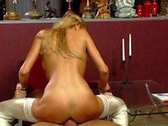 Very hot blonde slut banging