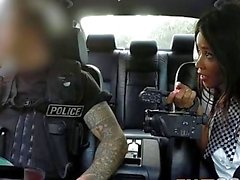Fake Cop Outdoor threesome with two big pairs of tits