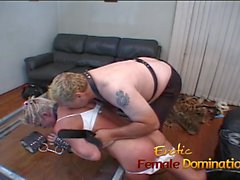 Saucy blonde bitch with big naturals enjoys some kinky fun
