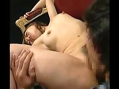 Skinny Asian babe with tiny tits gets her shaved pussy lick