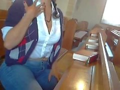 Daring Horny girl masturbates in Church! Incredible umyq