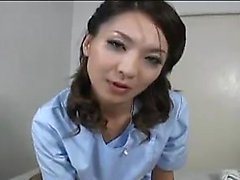 Cute nurse gives him head and a handjob to relieve him of p