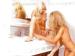 two horny schoolgirls kissing his body