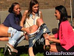 Clothed lesbian threeway