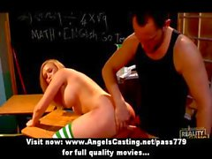 Blonde schoolgirl fucked from behind by teacher and cumshot on face