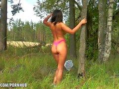 Russian Brunette strips down in the woods