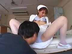Sexy Asian nurse gets her nice tits and hot pussy licked an