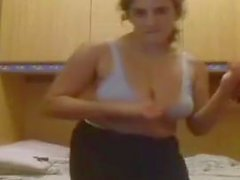 ugly busty Italian girl dances