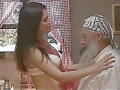 Old man fucked by his brunette Christmas present