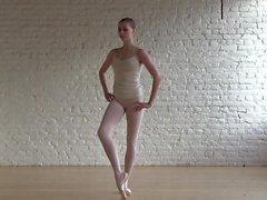 Smoking hot ballerina practices her routine while in the nu