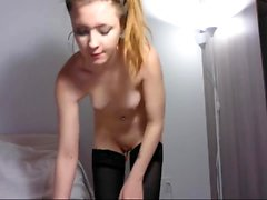 Busty Solo Babe in Fishnet Stockings Masturbates with Toys