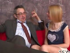 Teacher tasting a blonde beautys chaste cunt