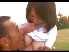 Asian Girl In Training Dress Getting Her Tits Rubbed Pussy Licked And Fingered By Her Coach Squirting On The Desk Outside On The Field