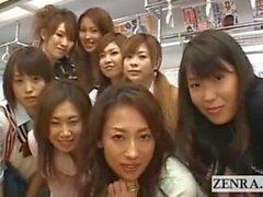 Crazy public Japanese lesbian kissing orgy on train