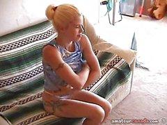 Geek girlfriend Fran masturbates on couch