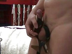 Slave masturbate in shoes